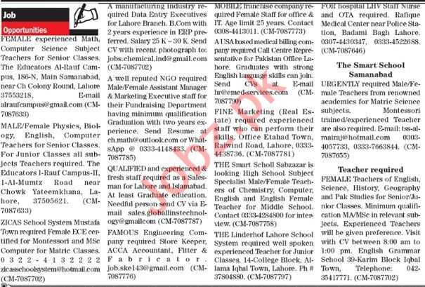 The News Sunday Classified Ads 27 Sept 2020 General Staff