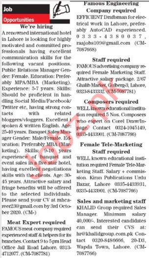 The News Sunday Classified Ads 27 Sept 2020 for Management