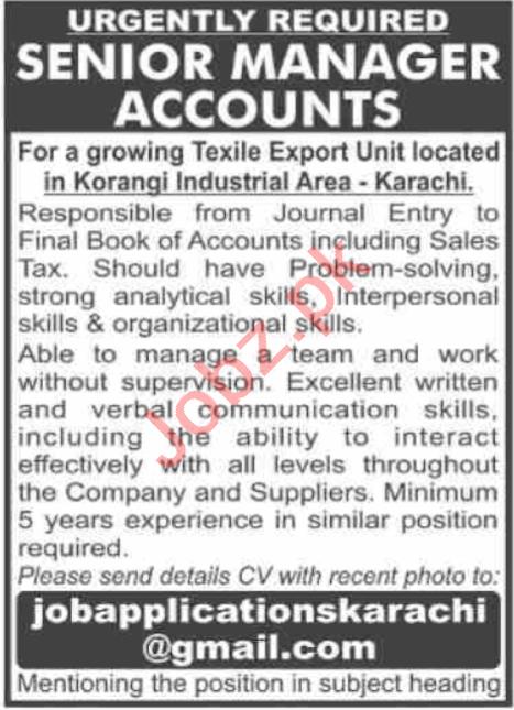 Senior Manager Accounts Jobs 2020 in Karachi