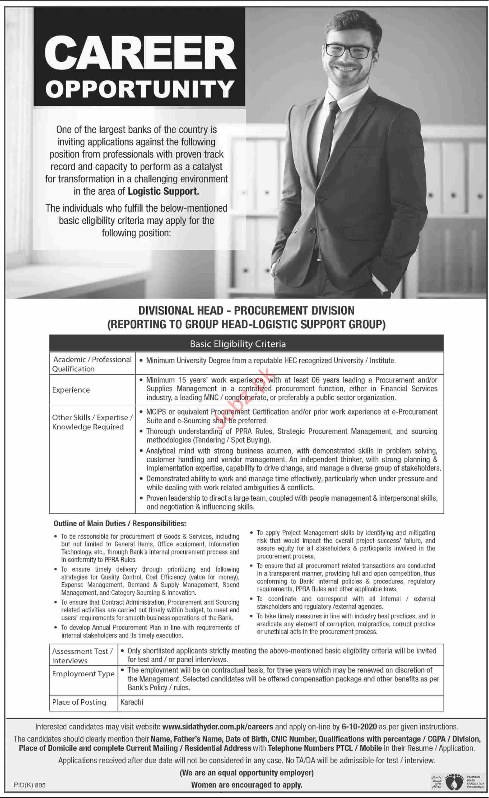 Division Head Procurement & Divisional Head Logistic Jobs
