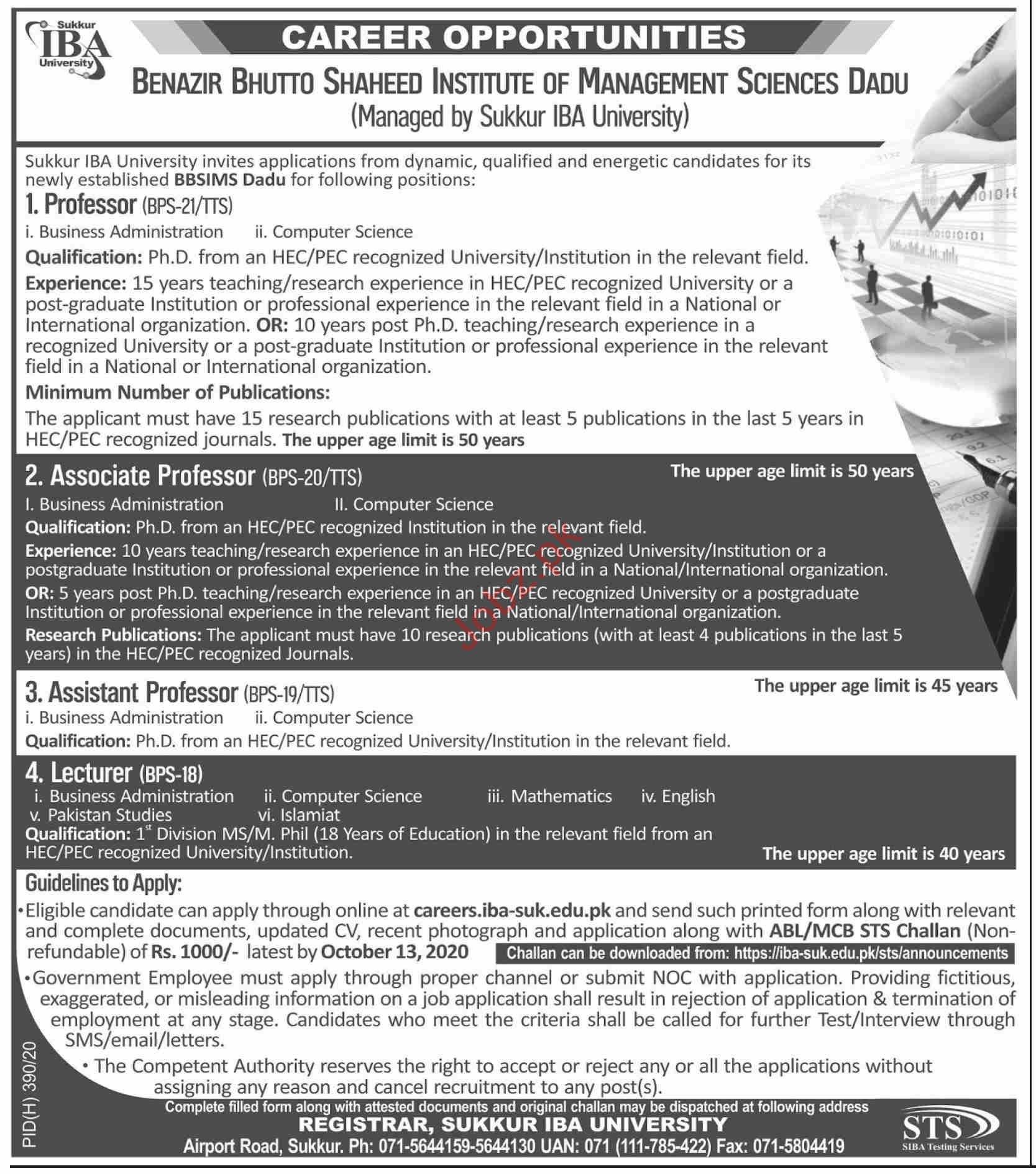 BBS Institute of Management Sciences Dadu Jobs 2020