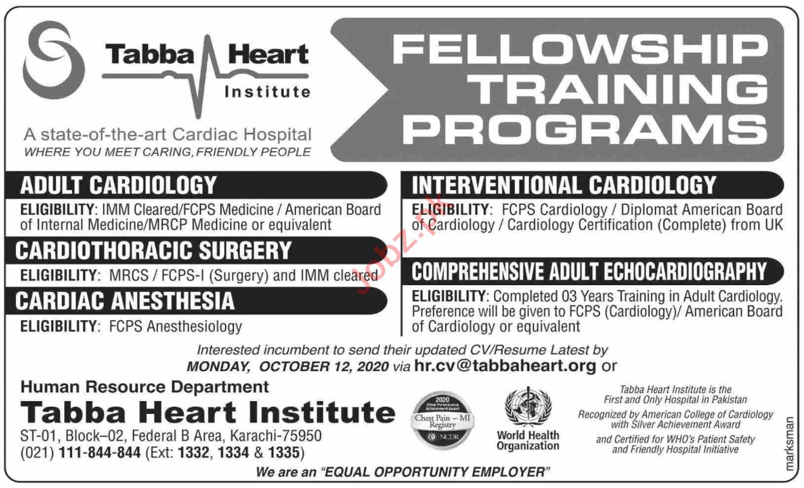 Tabba Heart Institute Karachi Jobs 2020 Medical Consultant
