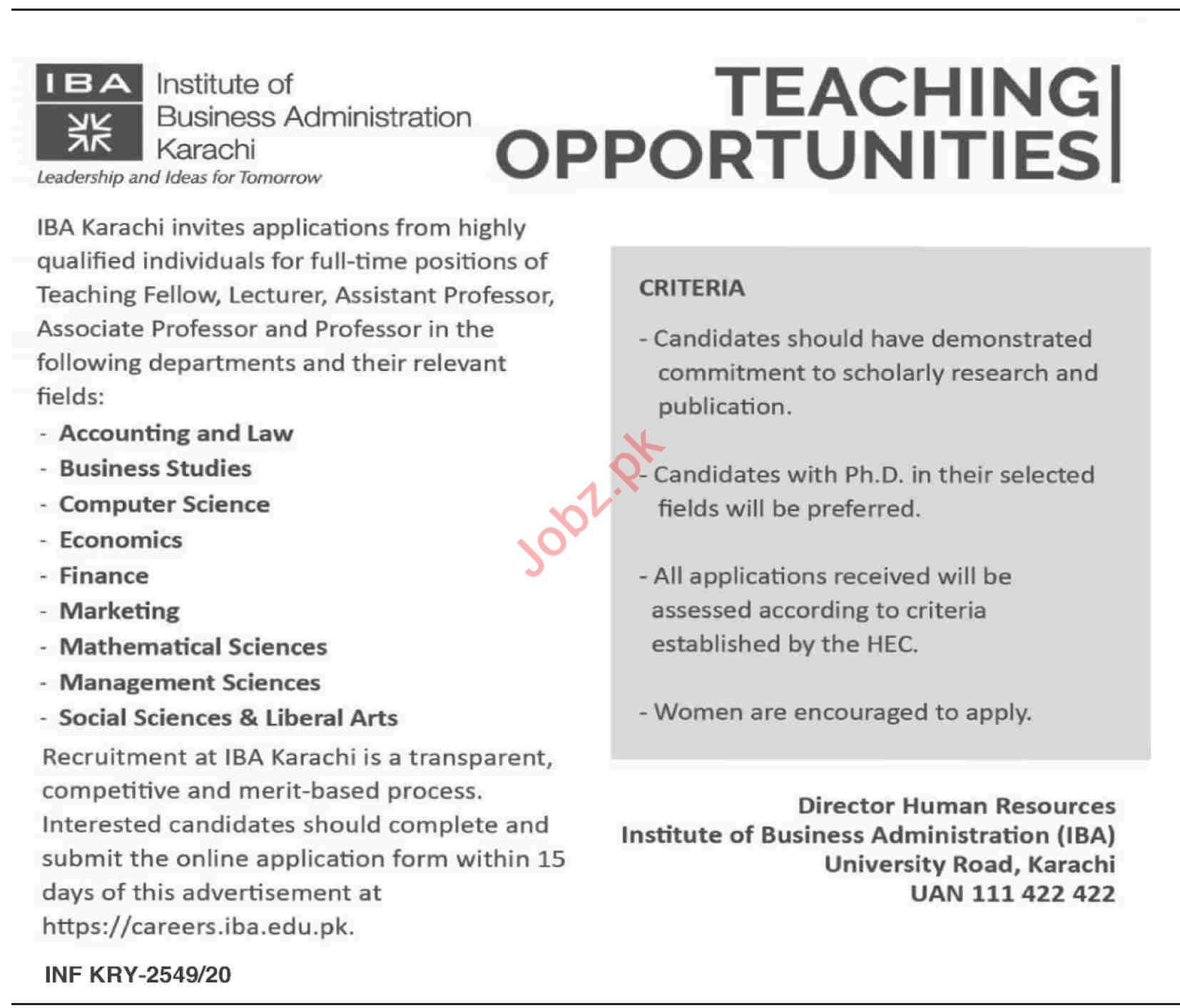 IBA Institute Karachi Jobs 2020 for Professors