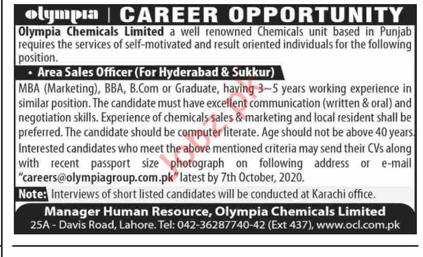 Olympia Chemicals Jobs 2020 for Area Sales Officer