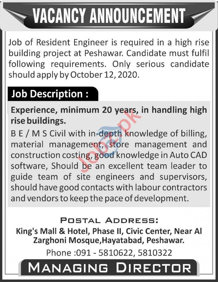 Kings Mall & Hotel Peshawar Jobs 2020 for Resident Engineer