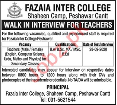 Fazaia Inter College Shaheen Camp FIC Peshawar Jobs 2020