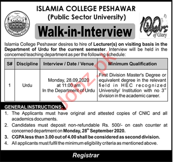 Islamia College University Peshawar Jobs 2020 for Lecturer
