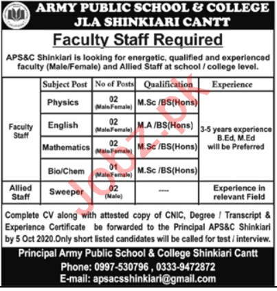Army Public School & College APS&C Shinkiari Cantt Jobs 2020