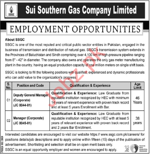 SSGC Karachi Jobs 2020 for Deputy General Manager