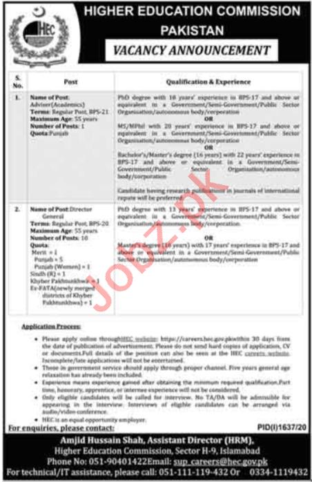 Higher Education Commission HEC Pakistan Jobs 2020