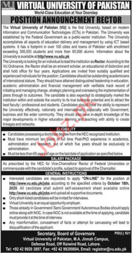 Virtual University of Pakistan VU Jobs 2020 for Rector