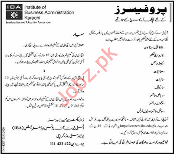 Professor Jobs in Institute of Business Administration IBA