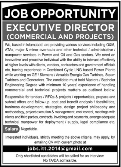 Executive Director Job 2020 in Islamabad