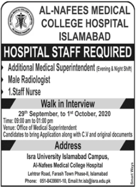 Hospital Staff Jobs 2020 in Islamabad