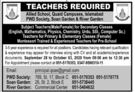 Allied School Quaid Campuses Jobs 2020 in Islamabad