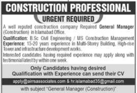 General Manager Construction Job 2020 in Islamabad