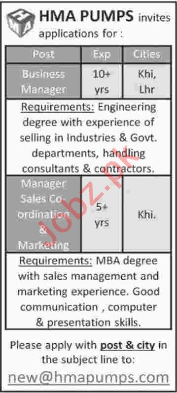 Manager Sales Coordinator & Business Manager Jobs 2020