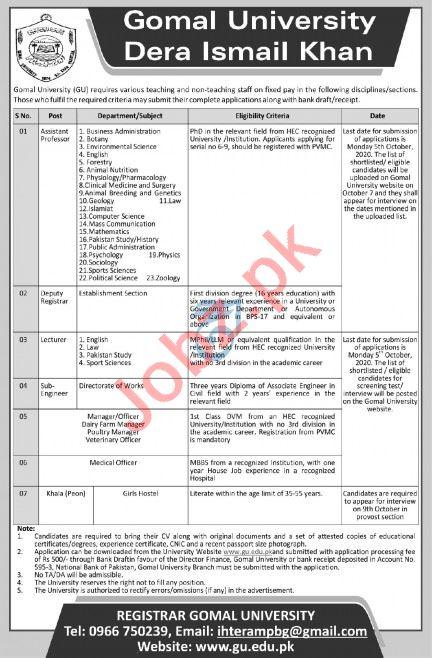 Gomal University Dera Ismail Khan Jobs 2020 for Professors