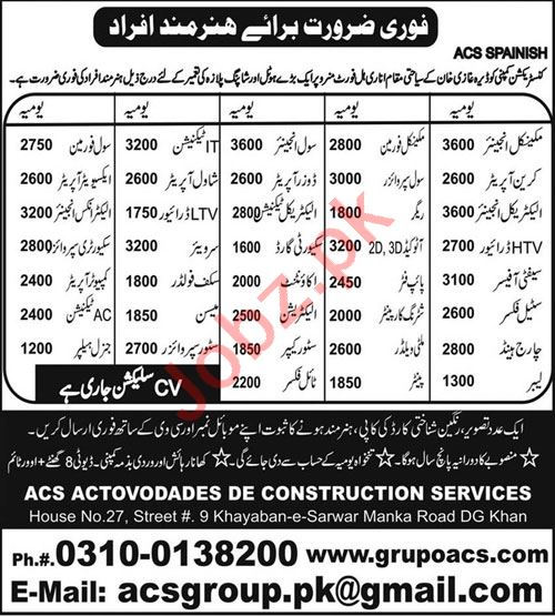 Mechanical Engineer & Crane Operator Jobs in ACS Group