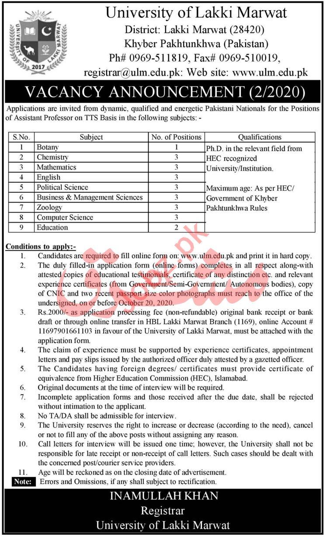 University of Lakki Marwat Campus Jobs 2020 for Professors