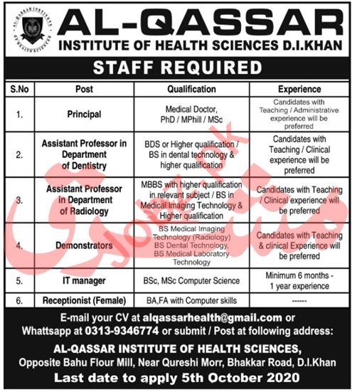 Al Qassar Institute of Health Sciences DI Khan Jobs 2020