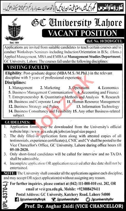 GC University Lahore Jobs 2020 for Visiting Professors