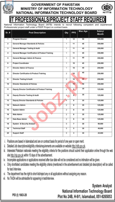 National Information Technology Board NITB Jobs 2020