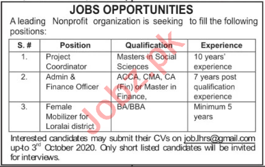 Project Coordinator & Finance Officer NGO Jobs 2020