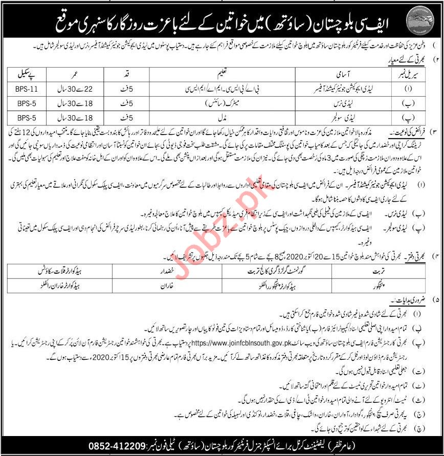 Frontier Corps FC Balochistan Jobs 2020 for Female Staff