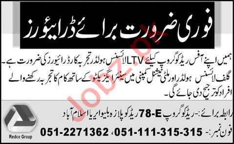 Driver & LTV Driver Jobs 2020 in Redco Group Islamabad