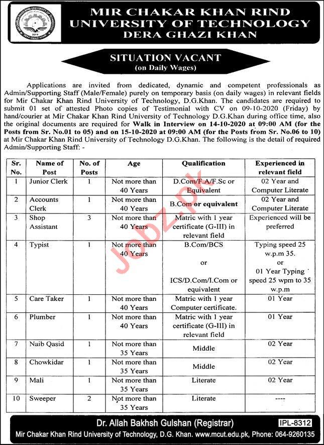 Mir Chakar Khan Rind University of Technology MCKRU Jobs