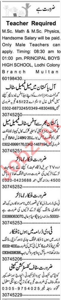 Teacher & Sales Manager Jobs 2020 in Multan