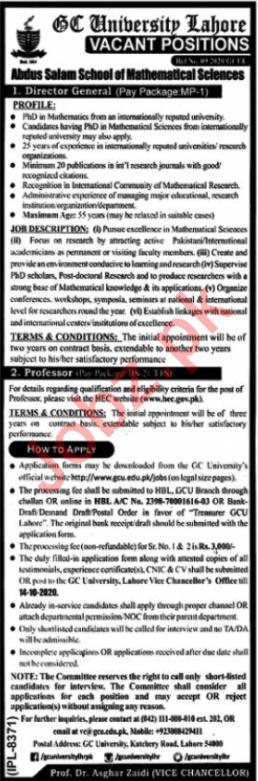 Government College University Lahore GCUL Jobs 2020