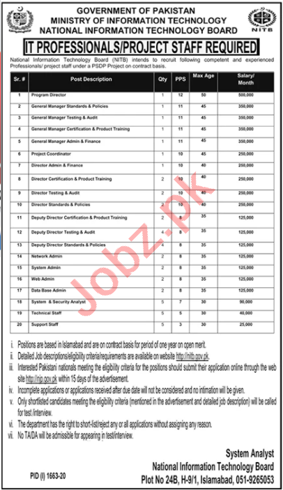 Ministry of Information Technology NITB Islamabad Jobs 2020
