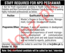 Program Officer NGO Jobs 2020 in Peshawar