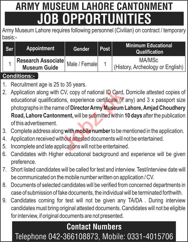 Army Museum Lahore Jobs 2020 for Research Associate