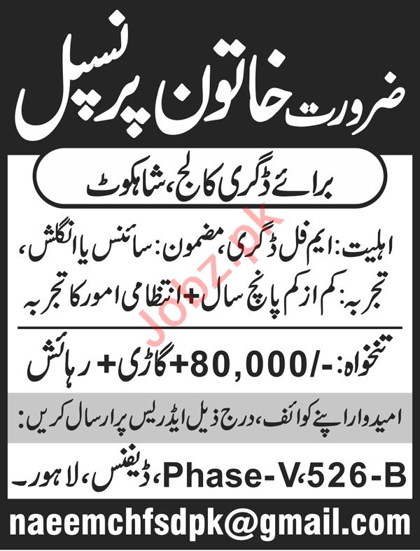 Female Principal Jobs 2020 in Degree College Shahkot