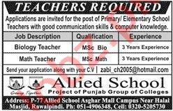 Teacher Jobs 2020 in Allied School Asghar Mall Campus