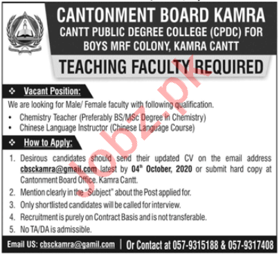 Cantt Public Degree College Kamra CPDC Jobs 2020