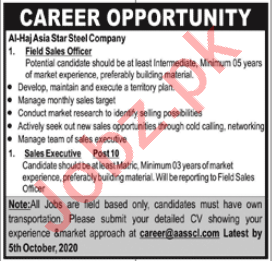 Al Haj Asia Star Steel AASSCL Jobs for Field Sales Officer