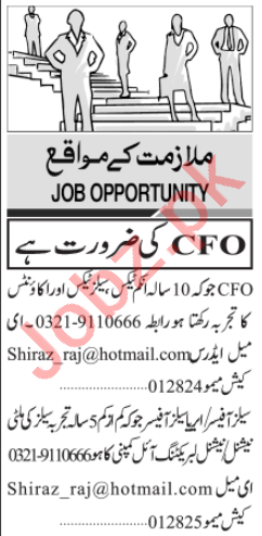 Chief Financial Officer & Area Sales Officer Jobs 2020