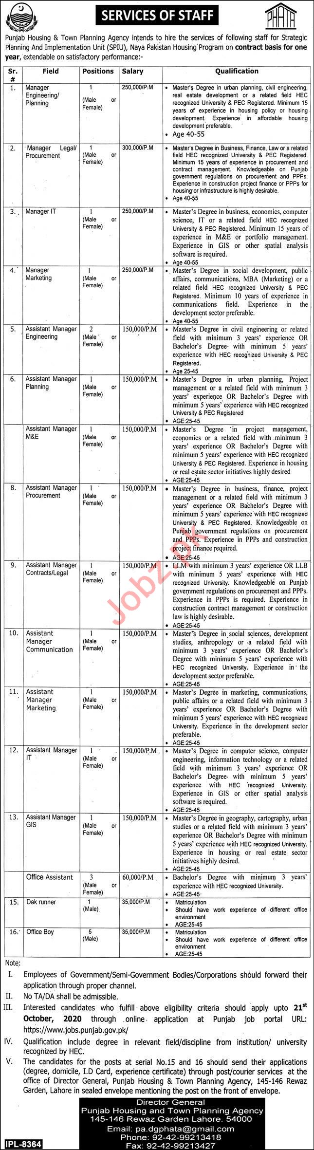 Punjab Housing & Town Planning Agency PHATA Jobs 2020