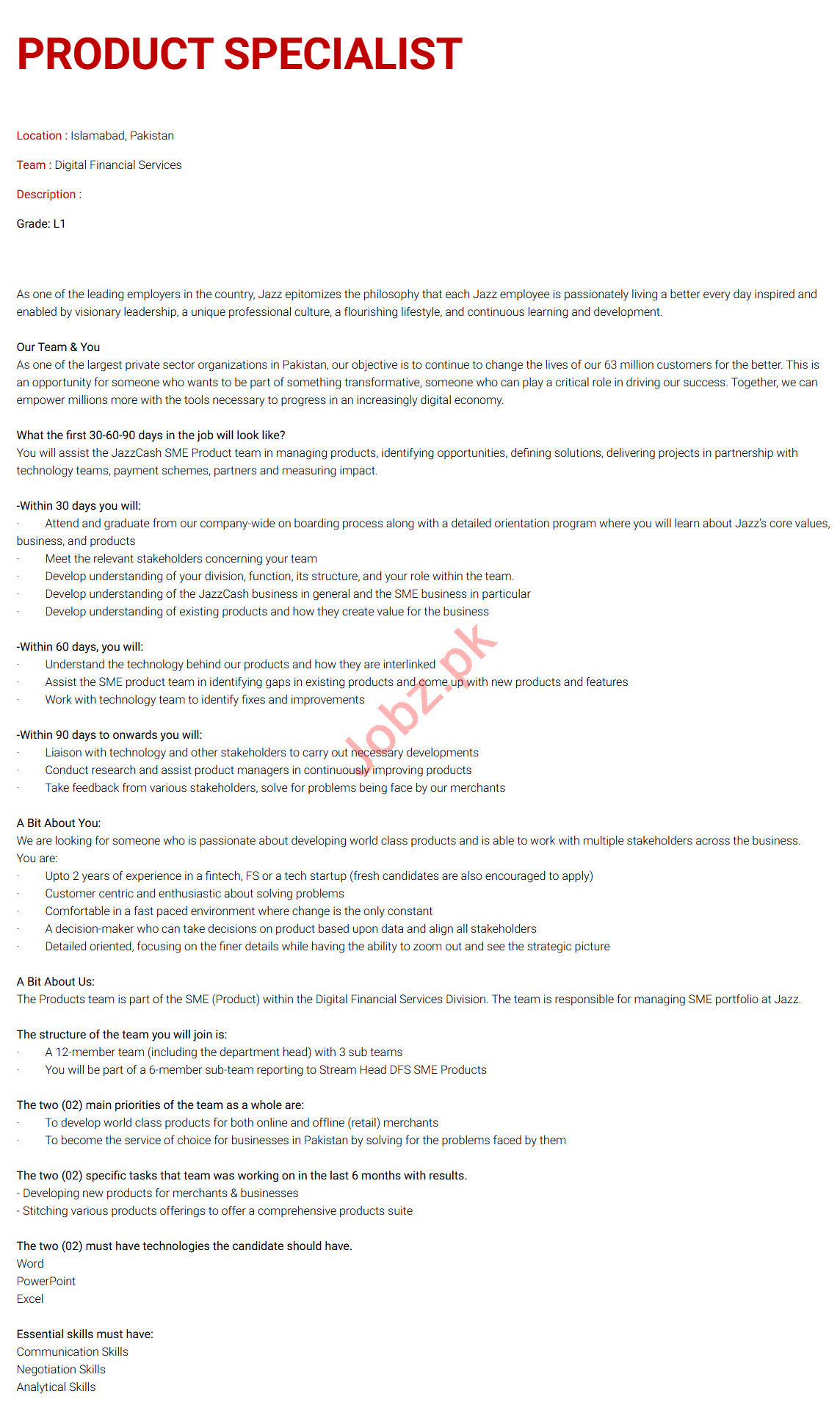 Jazz Telecom Islamabad Jobs 2020 for Product Specialist