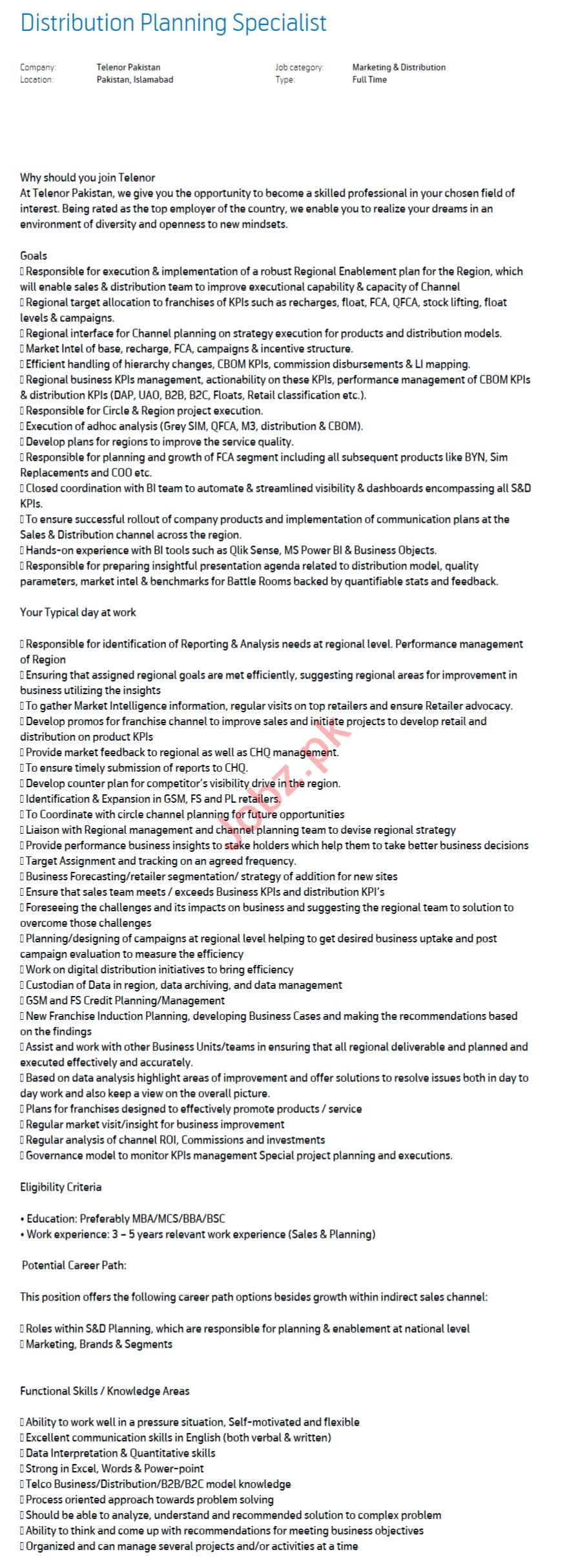 Telenor Pakistan Jobs 2020 Distribution Planning Specialist