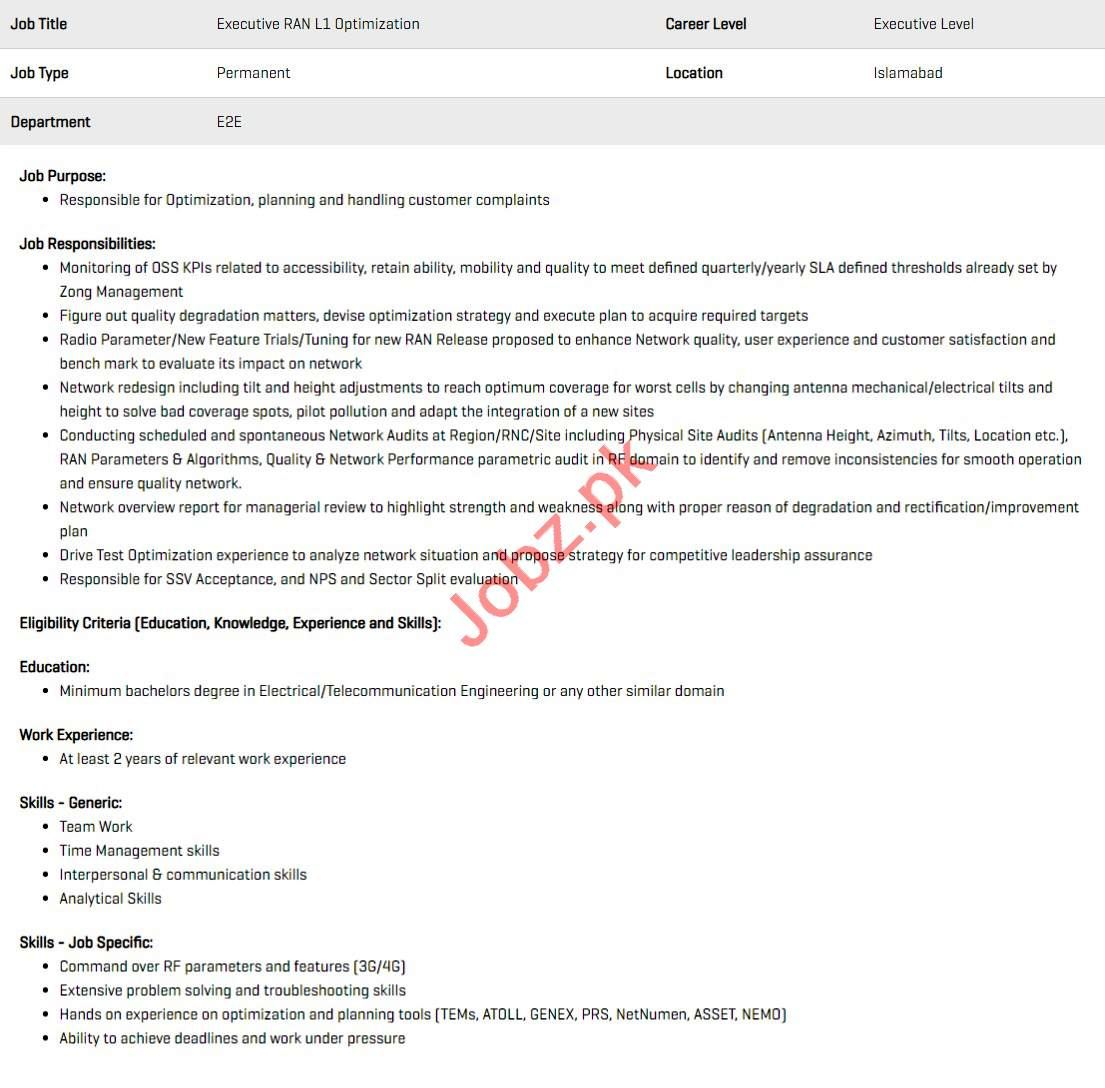 Executive RAN L1 Optimization Jobs 2020 in Zong Pakistan