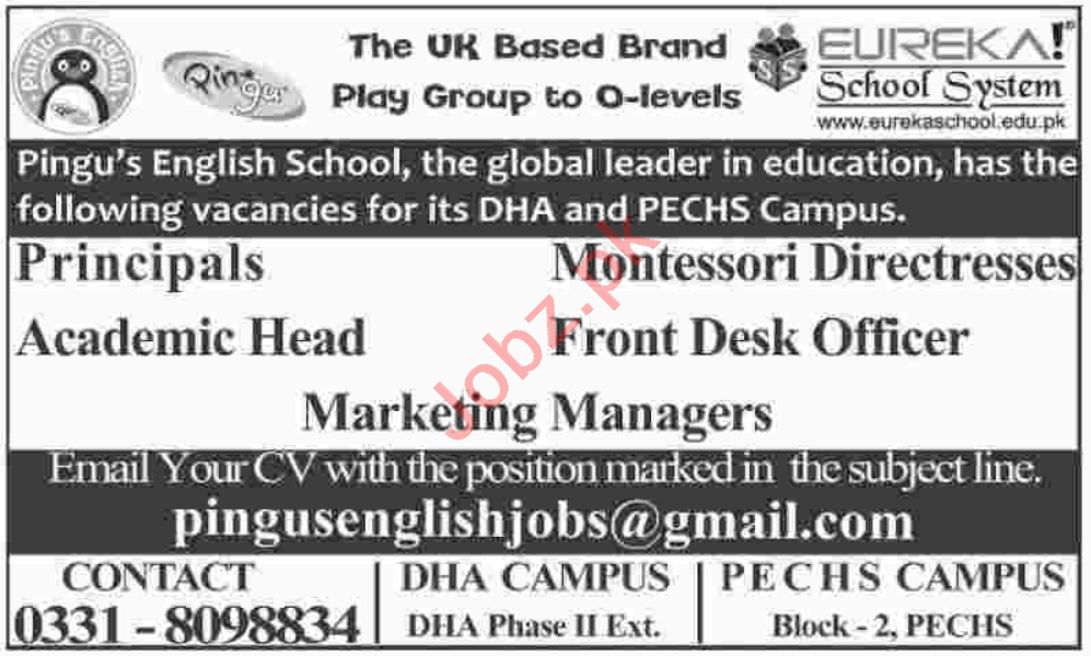 Principal & Montessori Directress Jobs 2020 in Karachi