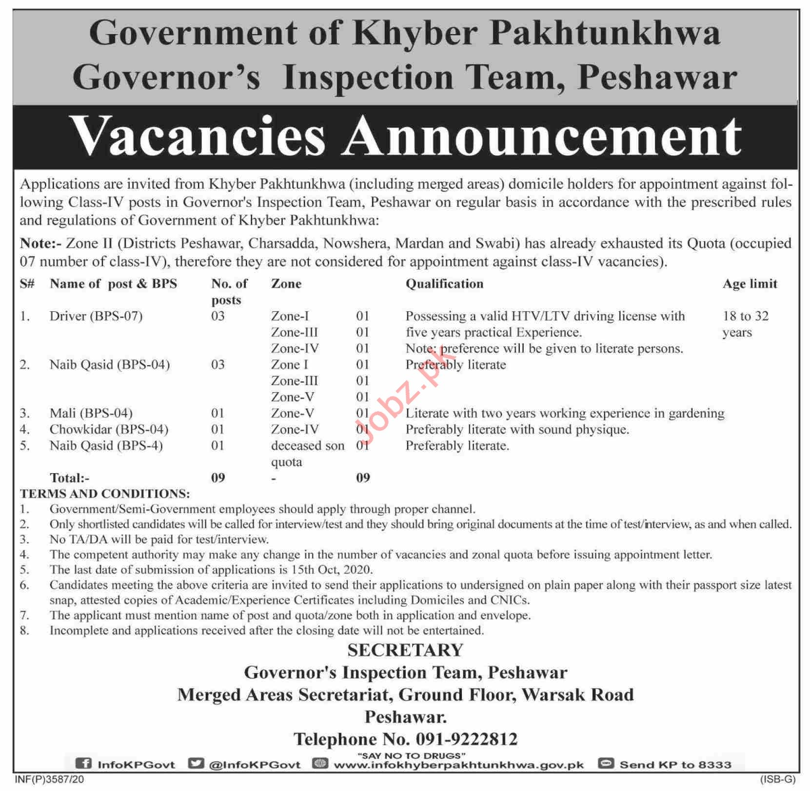Governors Inspection Team KPK Jobs 2020 for Drivers