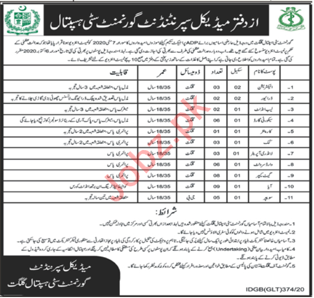 Government City Hospital Gilgit Jobs 2020 for Electrician