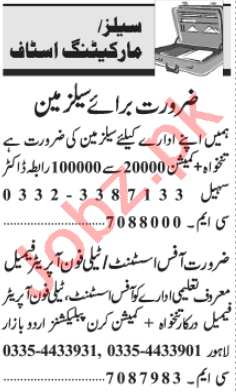 Sales Manager & Marketing Officer Jobs 2020 in Lahore