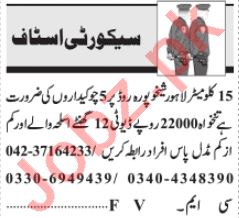 Security Incharge & Lady Searcher Jobs 2020 in Lahore